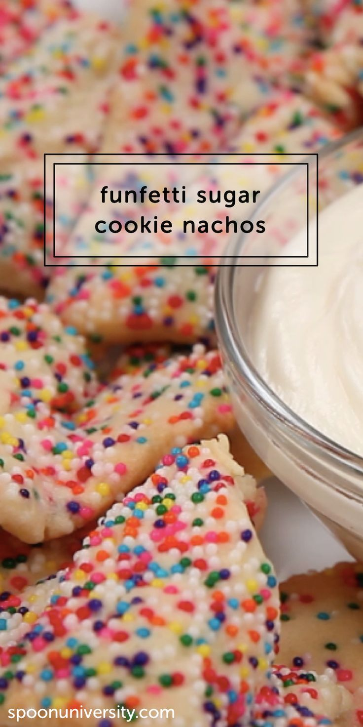 These funfetti sugar cookie nachos will be your new favorite party treat.