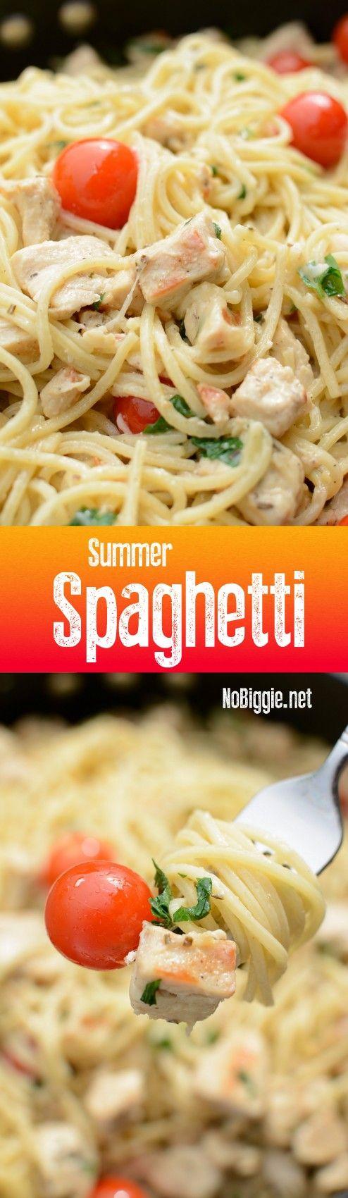 Summer Spaghetti with garlic gravy this sauce is amazing! | NoBiggie.net