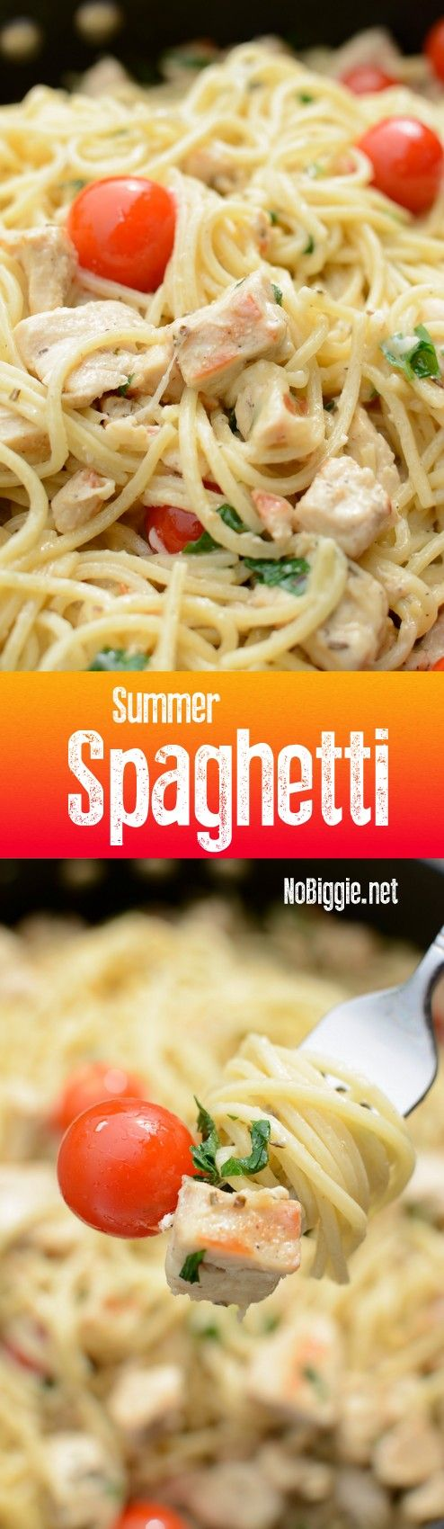 Summer Spaghetti with lemon marinated chicken and garlic gravy... this sauce is amazing -The perfect way to use up all the freshness from your garden