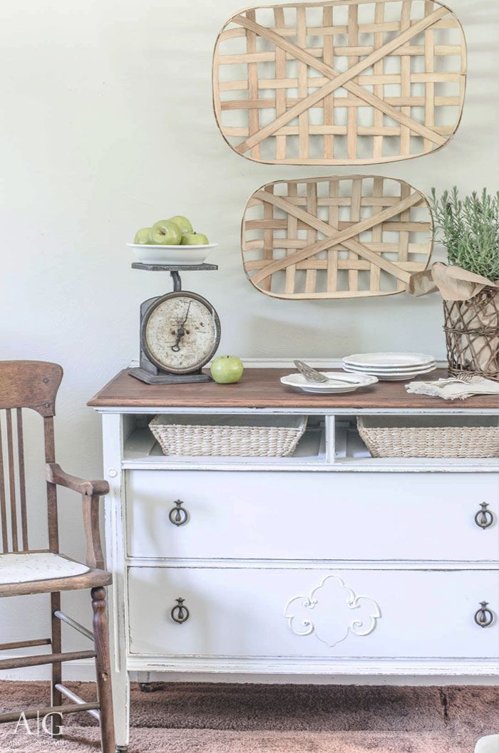 You'll love this farmhouse furniture before and after where a vintage dresser that was missing a drawer was transformed into a unique dining room sideboard. |  http://www.andersonandgrant.com