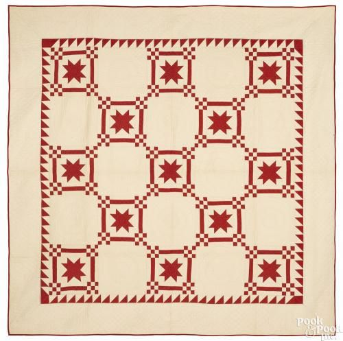 Pieced eight-point star quilt, ca. 1900, 84'' x 82''. Provenance: The Dianne Goldman Collection of Americana and Folk Art, Fairfield, Connecticut.