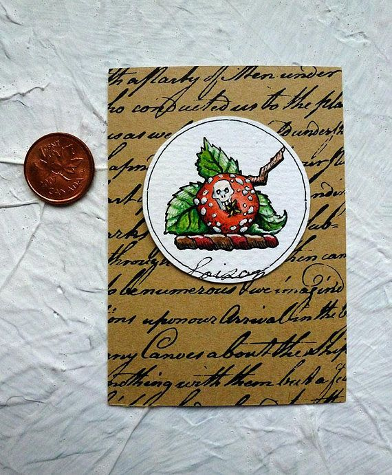 Poison Apple Watercolor Painting Original Miniature