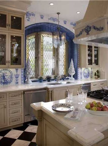 Mediterranean Kitchen with Kitchen island, Inset cabinets, Custom Arched Leaded Window, two dishwashers, One-wall