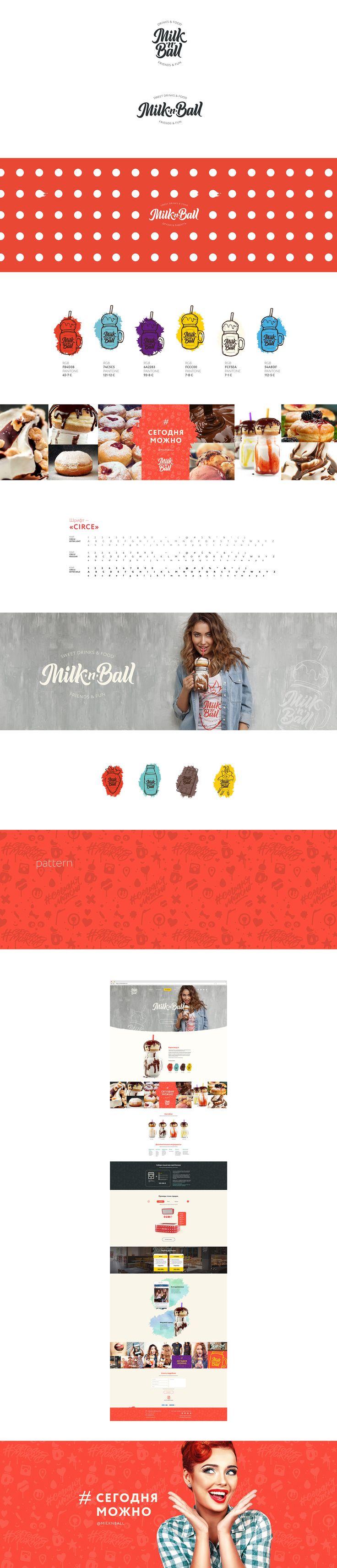Задача:Разработать фирменный стиль и сайт для продажи франшизы продукта.Milk'n'Ball — это пончик с молочным коктейлем в легендарной стеклянной кружке, которую покупатель потом может забрать себе домой и уютно попивать чай или морсы со льдом.