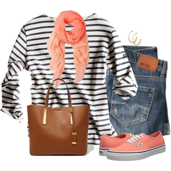 Coral Vans, created by daiscat on Polyvore