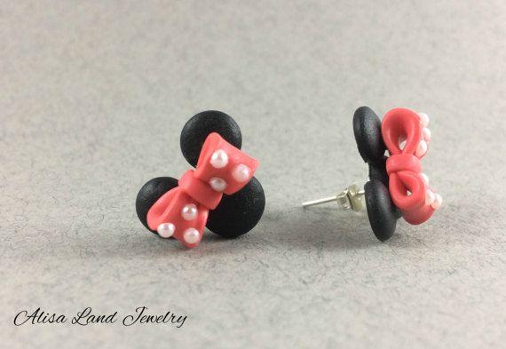 Mini Mouse earrings Cartoon earrings Polymer clay jewelry Black pink earrings