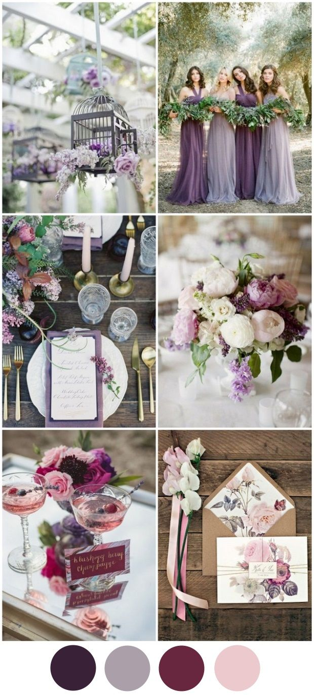 Polished Purple & Mixed Berry Wedding Colour Palette - This fresh palette of rich hues is perfect for an autumn wedding. Purple has always been a popular colour for Irish weddings because of its regal, timeless feel but this is the year to mix up your shades and make it all the more modern.