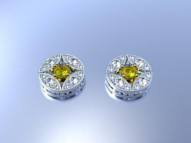 Pendientes de oro, zafiros amarillos y brillantes.18 k golden earrings with diamonds and yellow sapphires.Ana G.Näs