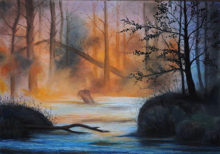sucha pastela, pejzaż, rzeka, las, soft pastel , landscape, forest, river