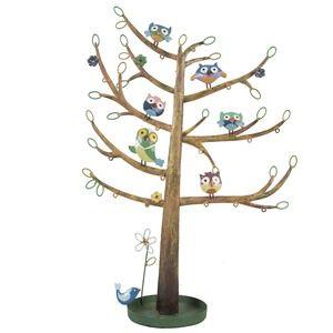 Metalen juwelenboom met uiltjes. Geschikt voor oorbellen, armbandjes en halskettingen.