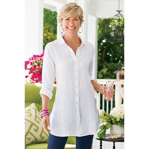 Washed Linen Shirt in  from Soft Surroundings on shop.CatalogSpree.com, your personal digital mall.