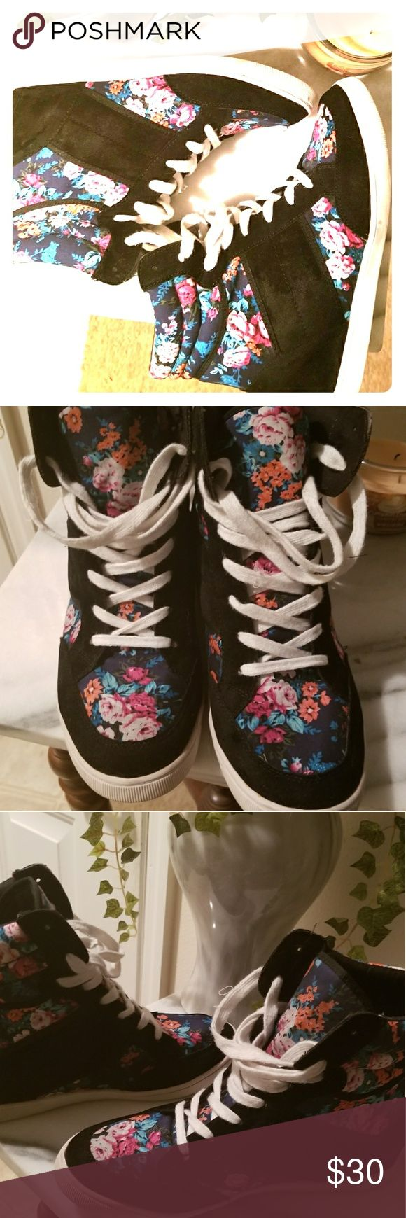 Shoedazzle Wedge Sneaker Floral Print & Suede Super cute size 11w hidden heel sneakers by Shoedazzle. Black faux suede and floral print. White sole has some bruises as seen in photos. Great condition otherwise! Shoe Dazzle Shoes Sneakers