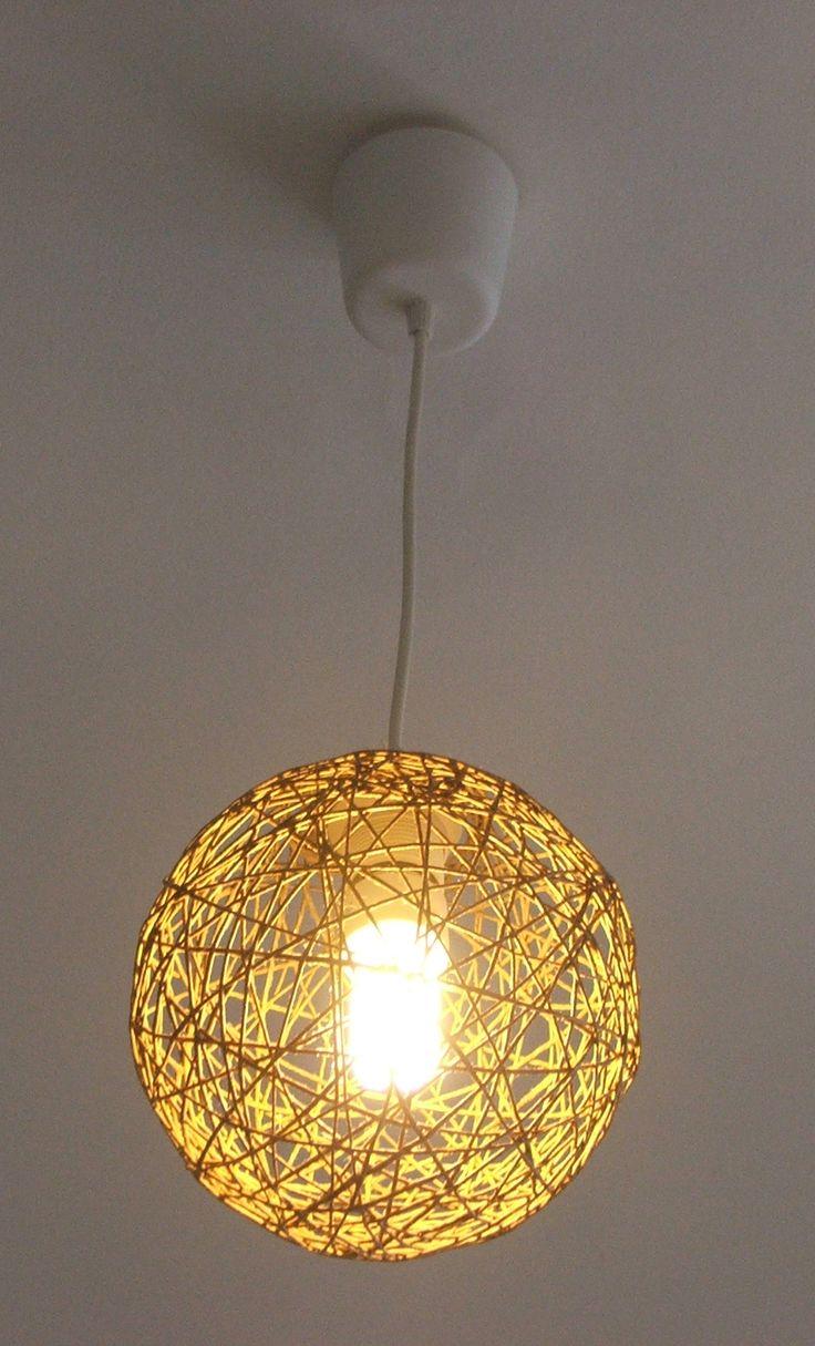 DIY yarn lamp from hemp twine