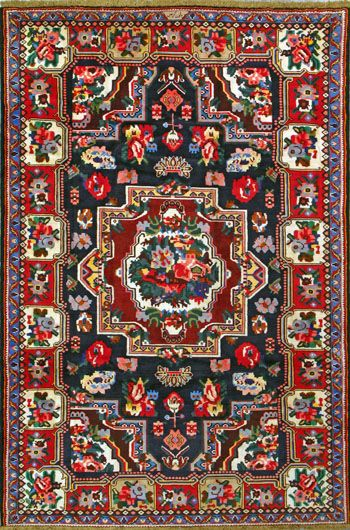 "Bakhtiari Persian Rug, Buy Handmade Bakhtiari Persian Rug 5' 7"" x 8' 3"", Authentic Persian Rug"