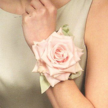 Wrist Corsage - Wedding Flower Design Galleries for MIL and Mom... I like the idea of simple BIG one flower for each of them