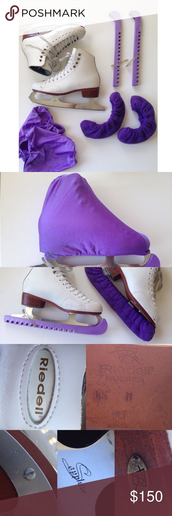Riedell Bronze Medallion 280 Figure Ice Skates Riedell Bronze Medallion 280 Figure Ice Skates- 8/10 condition, AMAZING quality contains:  2 purple A&R BladeGards Skate Guards  2 purple A&R Blade covers 2 purple boot covers   boot retails $210  -sapphire performance blade: Made in Canada -heat activated form fit -leather outsoles; foam-backed cambrelle lining Boots made in USA• Riedell  SIZE 4.5 ( convert your foot size )all BOOT flaws on leather are shown in the last picture, I do not have…