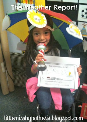 Little Miss Hypothesis - Lessons from the Science Lab: Whats Up With The Weather? ~ Love the umbrella hat and kids would so love wearing it!