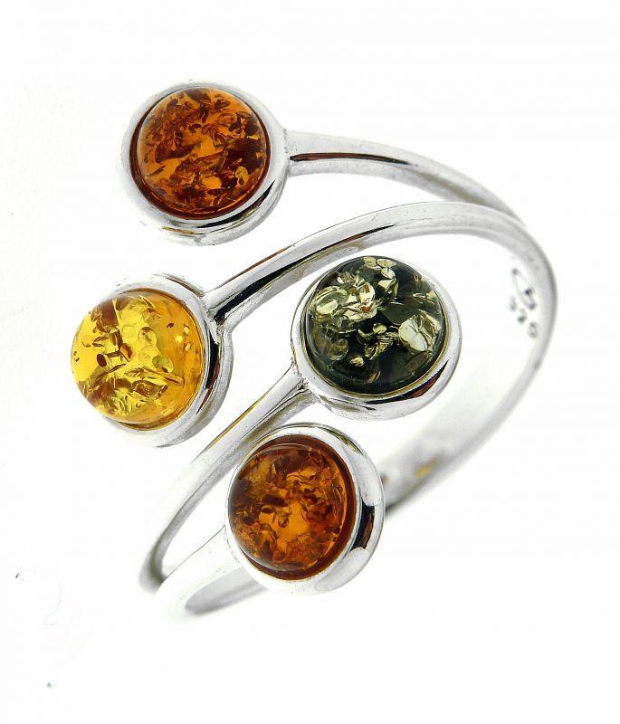 Bague Ambre Multicolore sur Argent 925 Ref. 42450 : Bague pour Femmes en Argent 925 disponible sur la Bijouterie en ligne Trabbia Vuillermoz