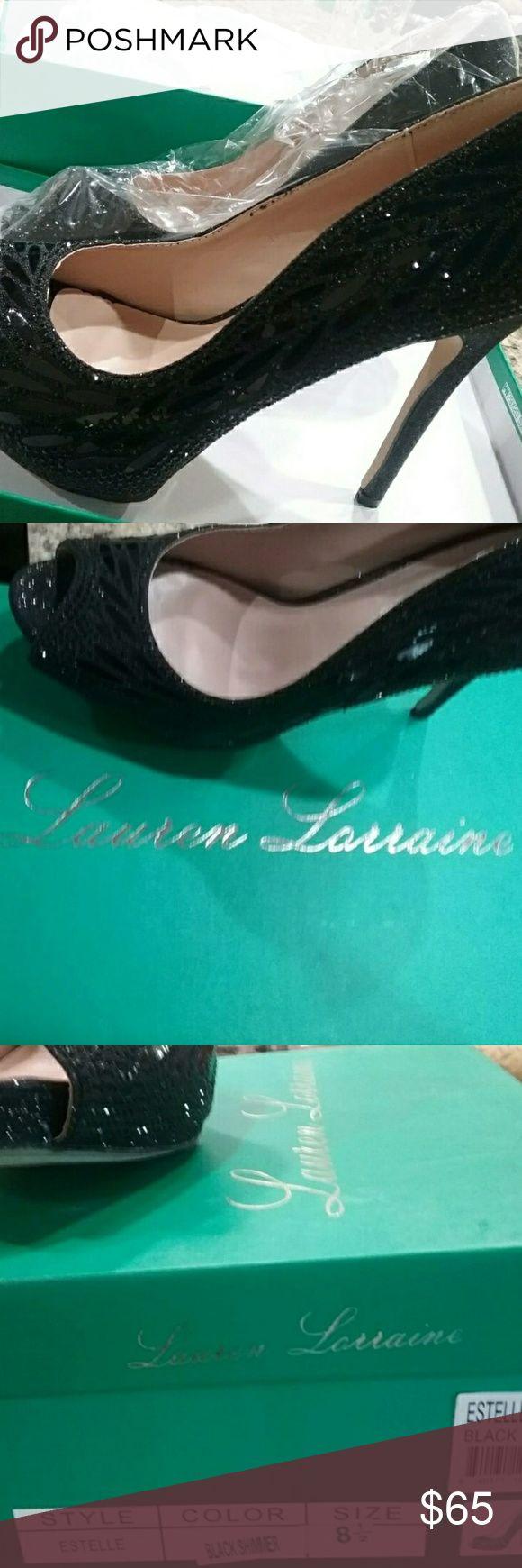 "Peep Toe Platform Pump - Lauren Lorraine Brand new - still in box Peep Toe Platform 2 Approx. 4.5"" heel. 1""platform  Very beautiful  Size 8.5 Leaf-like embellished detail Glitter Shoes Platforms"