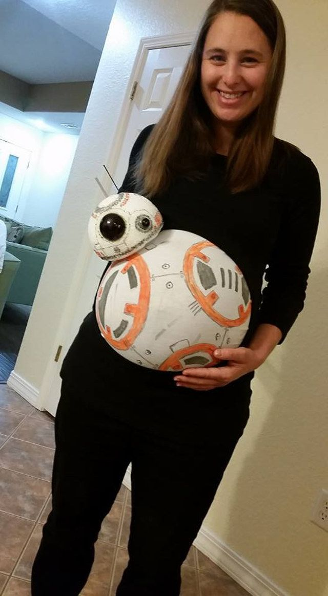 It's A Droid!: Pregnant Belly Painted To Look Like BB-8