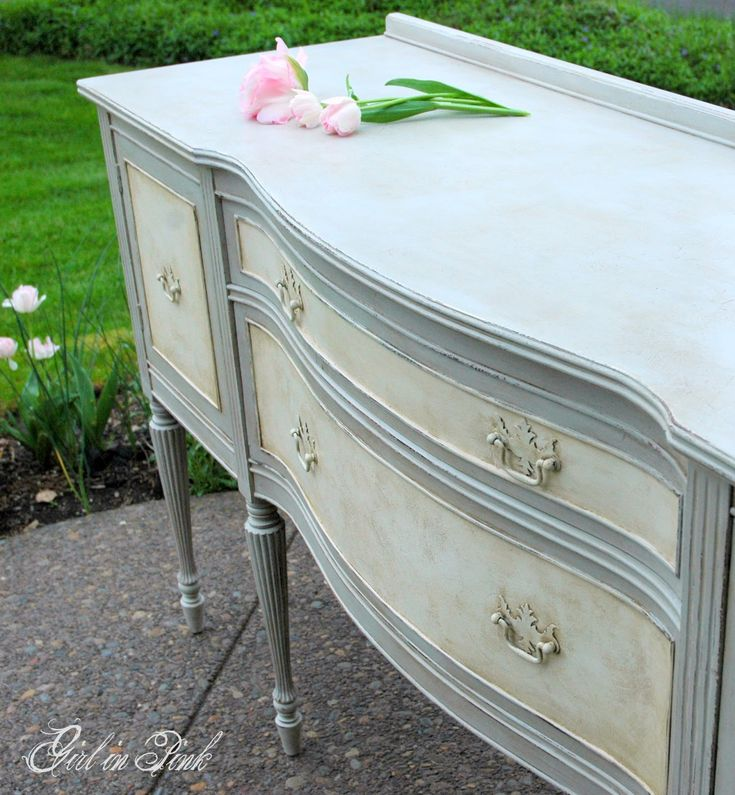 Painted furniture in Annie Sloan Chalk Paint using old white and paris grey, both clear and dark waxes.