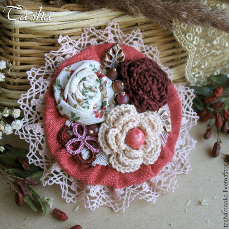 """Купить """"Вишневый аромат"""" бохо брошь букет, цветы из ткани - брошь цветок, брошь"""