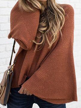 cb5345ab27 Barna Flare Sleeve Chic Női Kötött pulóver | outfits ideas ...