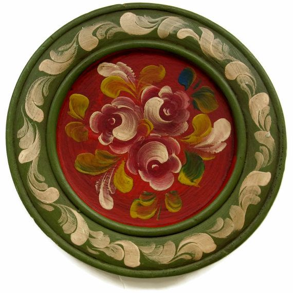 Vintage Tole Painted Wood Plate Germany by EclecticVintager, $10.00
