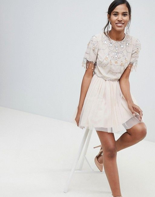 5cd281b62 ASOS DESIGN   ASOS DESIGN crop top fringe embellishment tulle mini dress