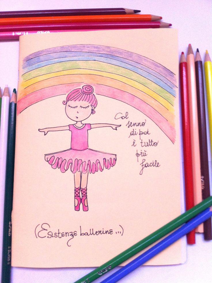 Quaderno A Quadretti Con Copertina Disegnata a Mano Ballerina : Quadernetti, agende di la-flor-azul