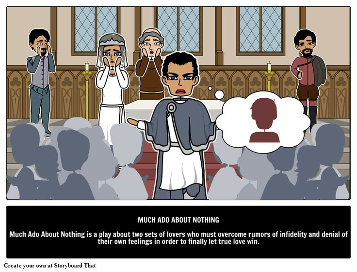 In the Shakespearean comedy, Much Ado About Nothing summary, quotes, characters, meaning and more with storyboards. Find more William Shakespeare Plays as well