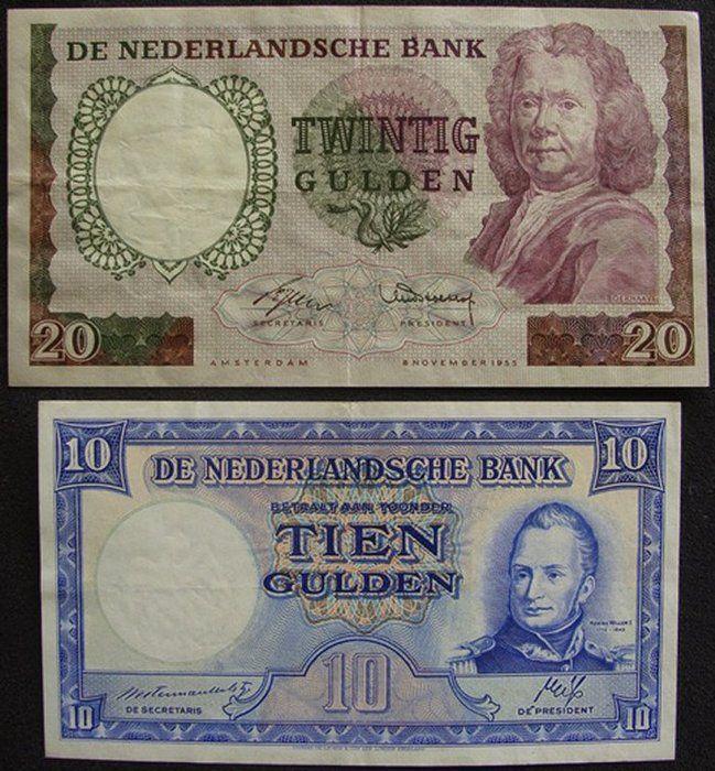 """Nederland - 20 Gulden 1955 """"Boerhaave"""" en 10 Gulden 1945 """"Staatsmijnen"""""""