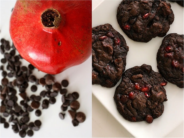 double dark chocolate pomegrante cookies.
