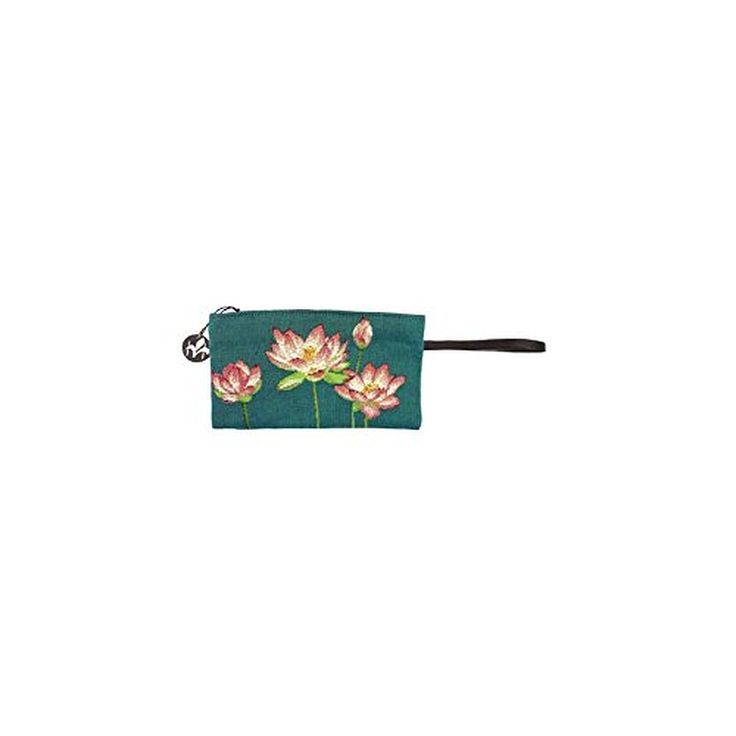 ART DE LYS - Water Lilies Blue Tapestry Pouch With Leather Strap Wristlet