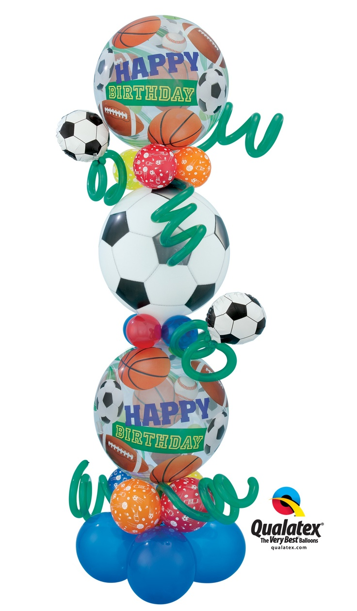 "Creative #birthday #balloon delivery or decor idea for a #sports fan! This ""Super Soccer Birthday Tower"" features three Qualatex Bubble Balloons and it's even air-filled."