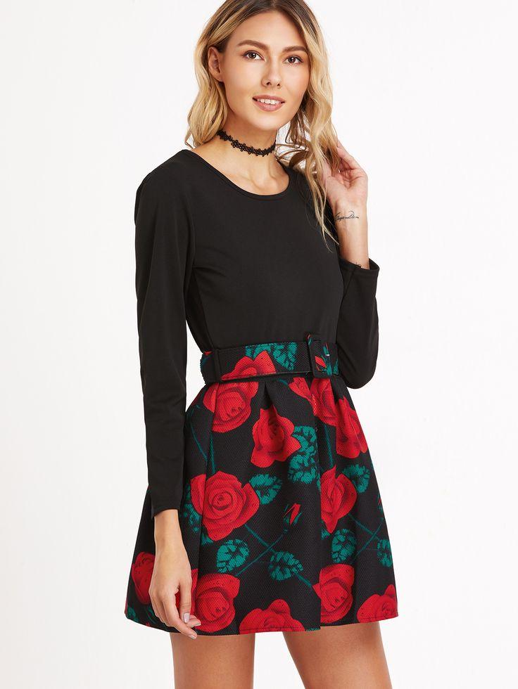 Shop Black Floral Print Pleated Combo Dress With Belt online. SheIn offers Black Floral Print Pleated Combo Dress With Belt & more to fit your fashionable needs.