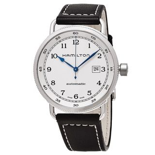 Hamilton Men's H77715553 'Khaki Navy' White Dial Brown Leather Strap Pioneer Swiss Automatic Watch - Free Shipping Today - Overstock.com - 18527028 - Mobile