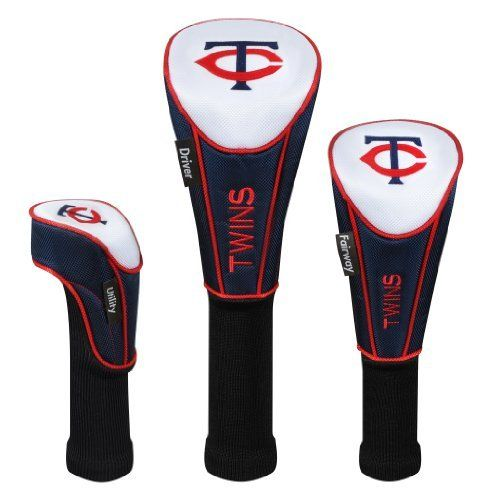 MLB Minnesota Twins Set of Three Headcovers by McArthur. $44.99. Officially licensed by MLB. Embroidered with team trademarks. Constructed of durable 420D nylon in vibrant team colors. Features expandable sock that provides maximum shaft protection. Headcover Matching System® consists of Driver, Fairway, and Utility headcovers. Specifically tailored to fit your clubs, with corresponding woven tag that clearly identifies your driver, fairway, and utility club. Drive...