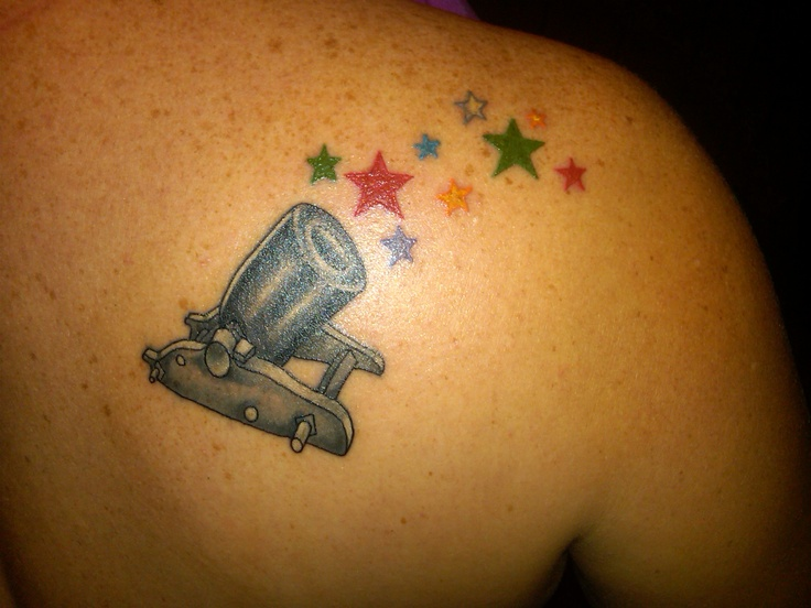 Cannon tattoo of my families birthstone colors in stars for Tattoos with birthstone colors