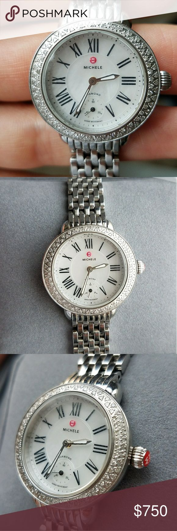 Michele Diamond bezel Serein 12 Ladies watch 100% authentic  Comes with box, extra links and screws and polishing cloth.  Eighty-four glistening diamonds frame a slender round case perfectly sized as a small cocktail watch. Roman-numeral markers and a dainty sub seconds dial further refine the luminous mother-of-pearl dial. Get a new look at any time with Micheles selection of interchangeable 12mm straps. 28mm case. Total diamond weight: 0.36ct. Color: H-I. Clarity: SI.  Payp, vinted $600…