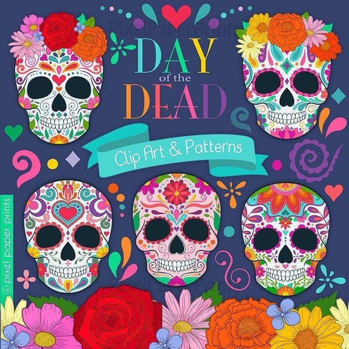 Day Of The Dead Clipart Sugar Skull Dia De Los Muertos Etsy In 2020 Clip Art Day Of The Dead Sugar Skull