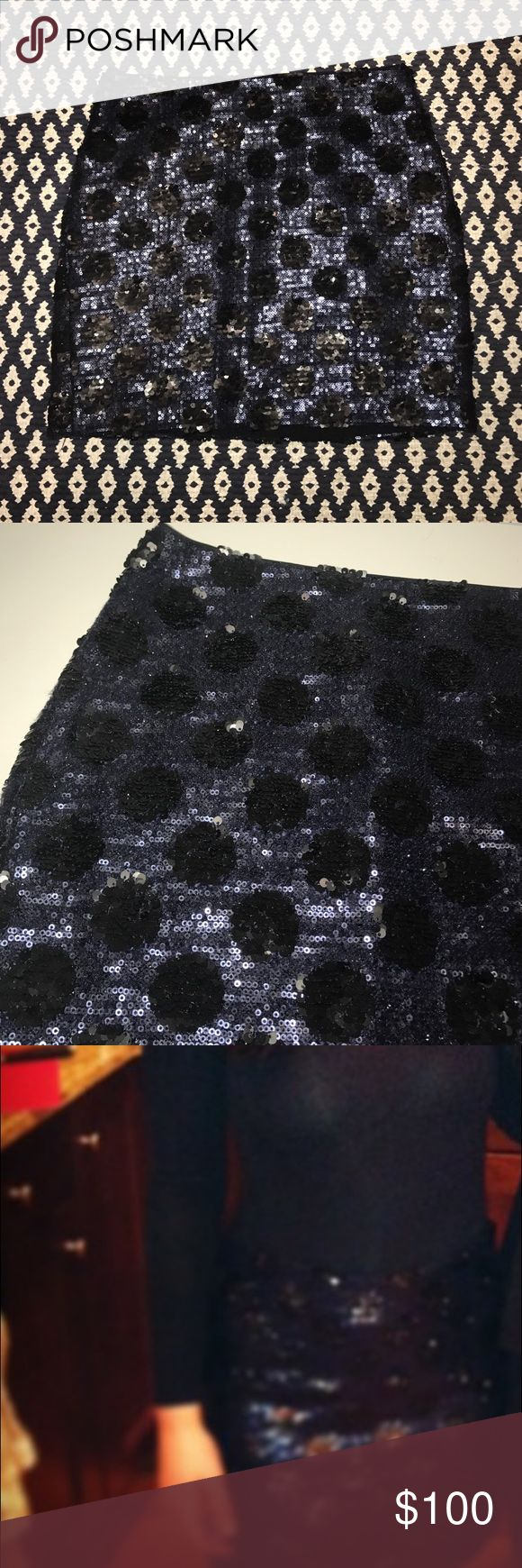 Navy and black sequin mini skirt Worn once! Body con mini skirt. Black on navy polka dot pattern. All sequins intact!! Looks like new! Madewell Skirts Mini