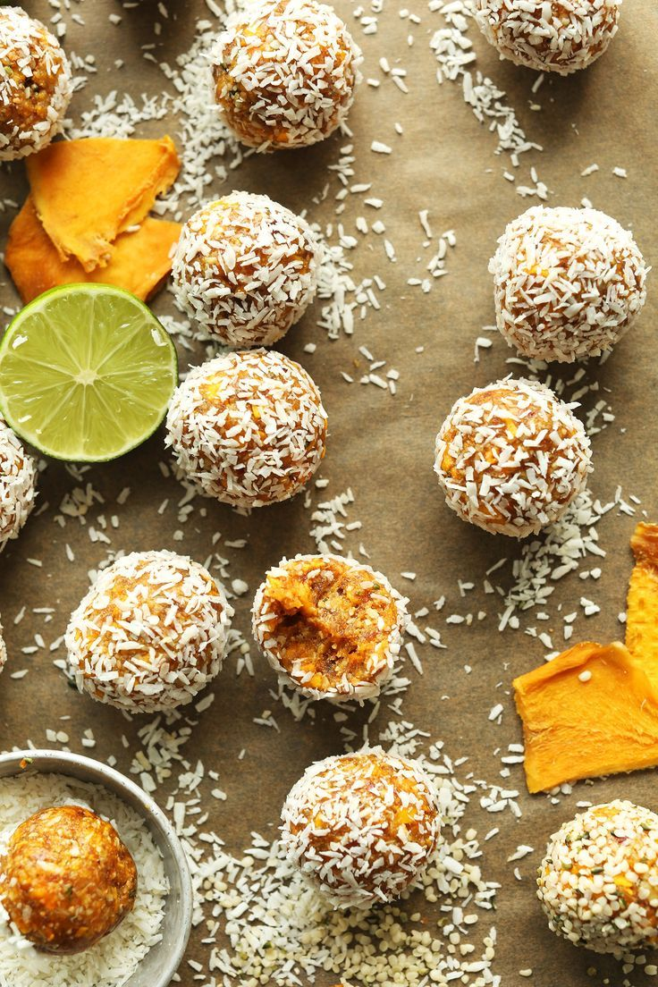 Easy, 6-ingredient mango energy bites with dates, coconut, hemp seeds, and lime zest! Perfectly sweet, tender, and so full of natural energy!