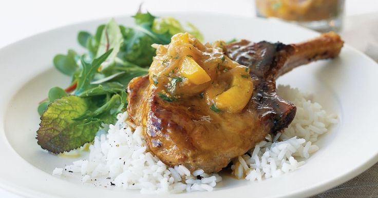 Spiced pork cutlets are perfect with sweet nectarine relish.