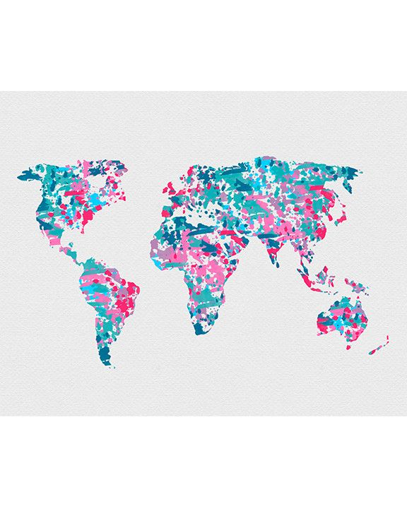 World Map 2 Watercolor Art