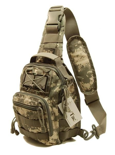 TravTac Stage II Sling Bag, Premium Small EDC Tactical Sling Pack 900D – ACU Camo - TravTac.com
