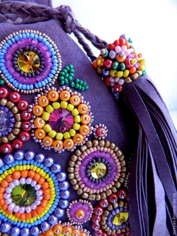 """Купить Сумка """"Летний букет"""" - фиолетовый, сумка маленькая, сумочка замшевая, сумка фиолетовая"""