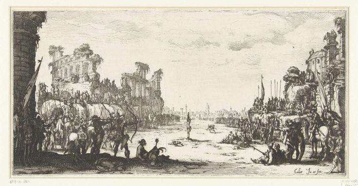 Jacques Callot | Het martelaarschap van de Heilige Sebastiaan, Jacques Callot, 1631 - 1633 | Onder de belangstelling van een grote menigte wordt de Heilige Sebastiaan op een vlakte bij een stad (Rome) naast een vervallen amfitheater (Colosseum) door boogschutters beschoten.