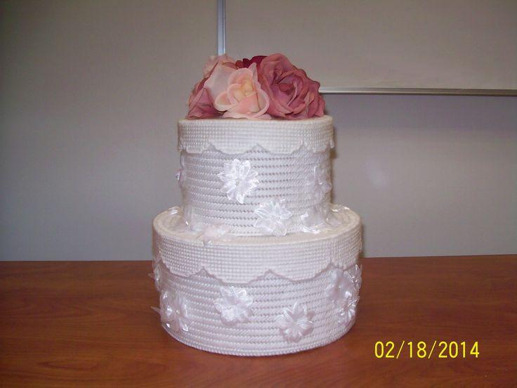 Plastic Canvas Wedding Cake Card Holder