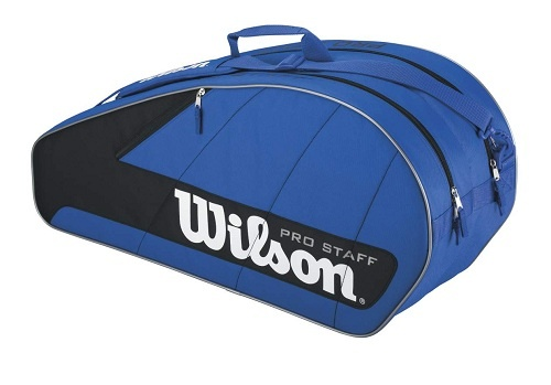 Wilson Pro Staff 6 Bag   Great small size bag, holds up to 6 racquets, has 2 compartments and is light-weight.  $34.99